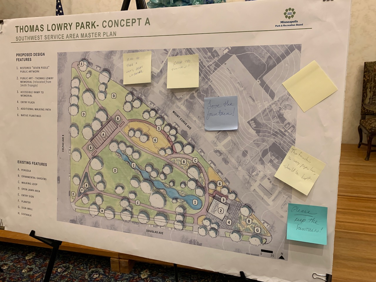 Comments left on a concept that maintains the fountain at Thomas Lowry Park at a recent open house on the Southwest Area Master Plan hosted by the Minneapolis Park and Recreation Board. Photo by Andrew Hazzard.