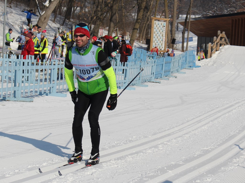 Vince Goeddeke of Minneapolis nears the finish in the Puoli classic marathon race on Feb. 2. Photo by Nate Gotlieb