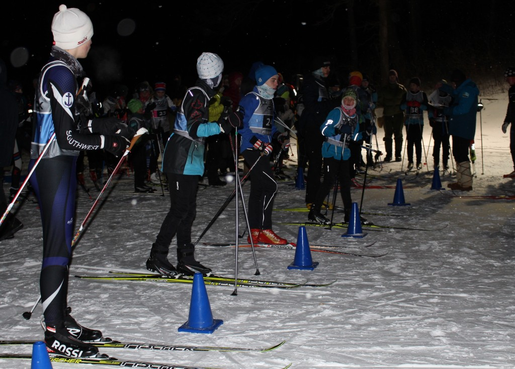 Skiers line up for the youth classic team sprints event Jan. 31 at Theodore Wirth Park. Photo by Nate Gotlieb