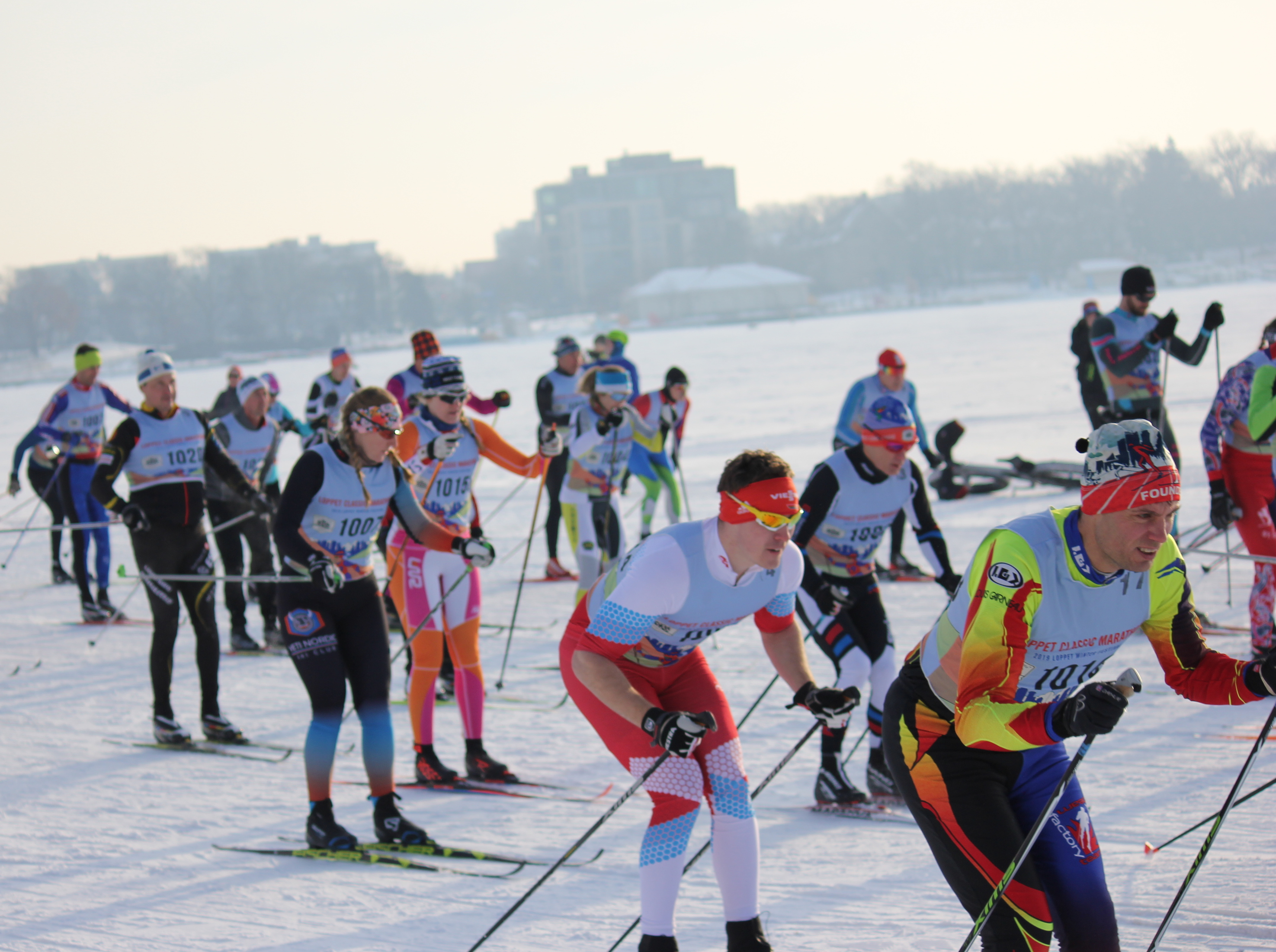 Skiers begin the Loppet's classic marathon race Feb. 2 on Bde Maka Ska. Photo by Andrew Hazzard