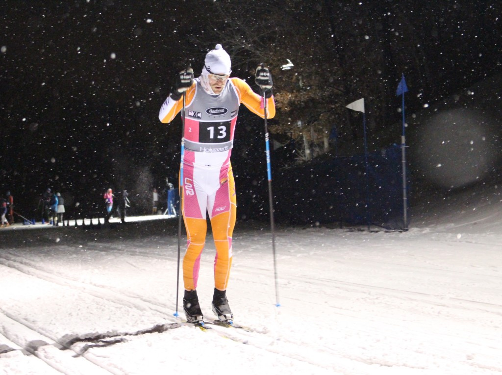 A cross-country skier participates in the adult classic team sprints event Jan. 31 at Theodore Wirth Park. Photo by Nate Gotlieb