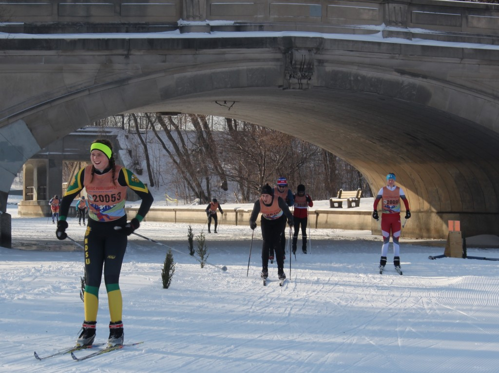 A group of skiers crosses onto Lake of the Isles during the Puoli Loppet Classic on Feb. 2. Photo by Nate Gotlieb
