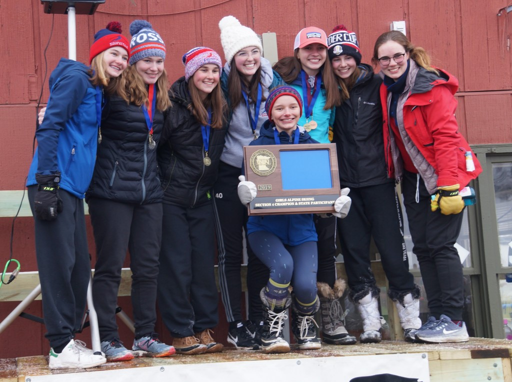 Members of the Southwest girl's alpine team at the section meet (from left to right): Meghan Abel, Elsa Peterson, Rachel Tanner, Anna Smalley, Avery Taylor, Addie Streble, Ella Horgan, Mae Niebuhr. Photo courtesy Mark Conway