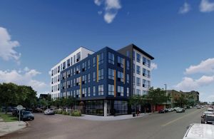 A rendering of the proposed mixed-use building at Lake & Garfield. submitted image.