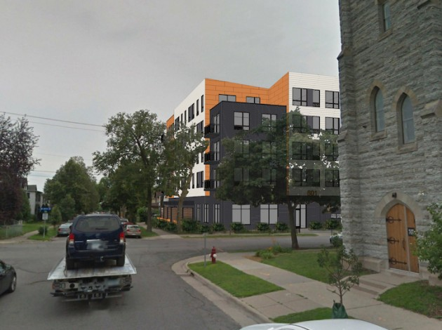 A rendering of the proposed 63-unit apartment building at 28th & Garfield. Submitted image