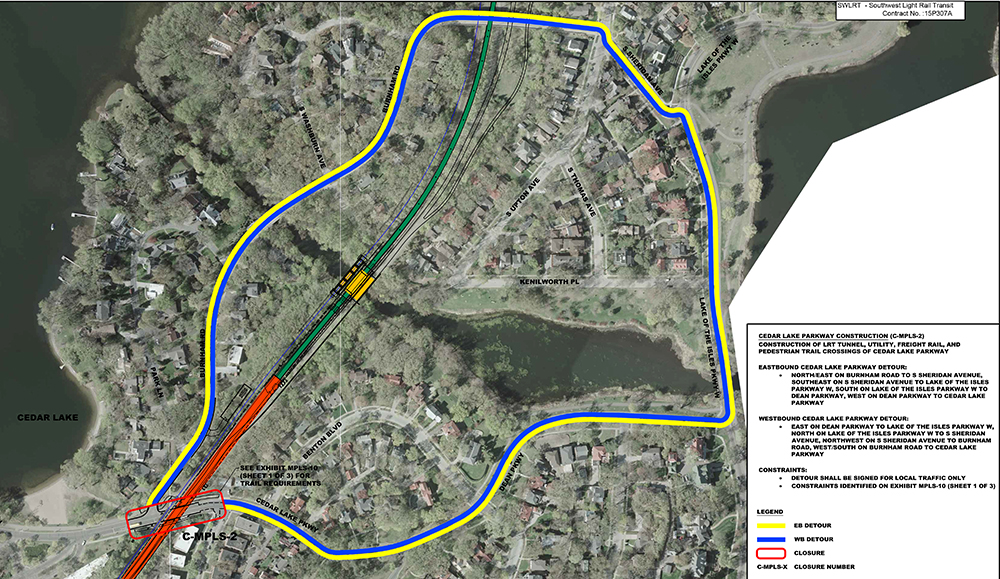 During the six months when Cedar Lake Parkway is closed, access will be maintained via the Burnham Road bridge. Submitted image