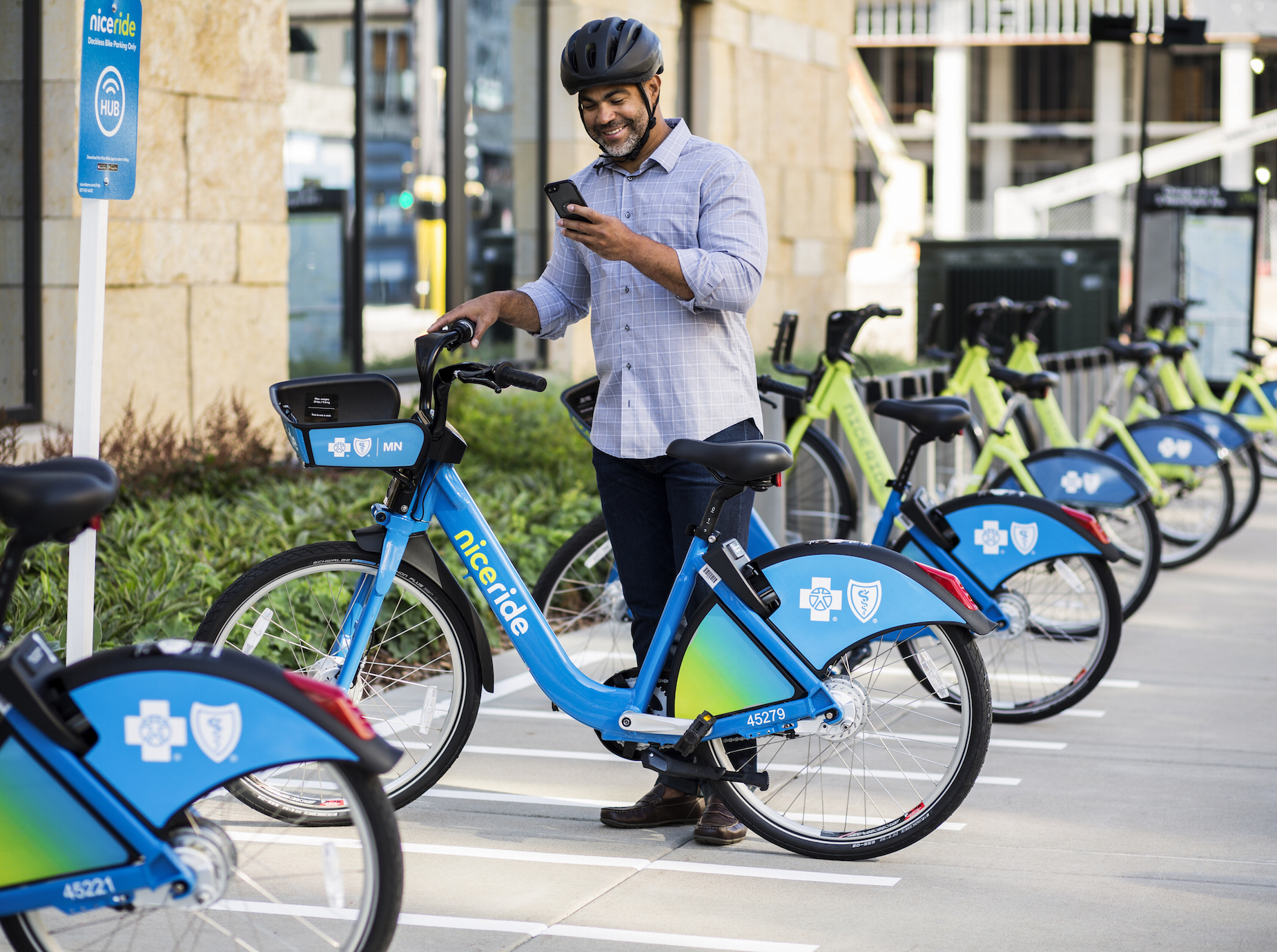 Mobility hubs are places where newer forms of shared mobility, like bike share, car share and ride hailing services, intersect with traditional bus and rail transit. Photo courtesy Nice Ride Minnesota