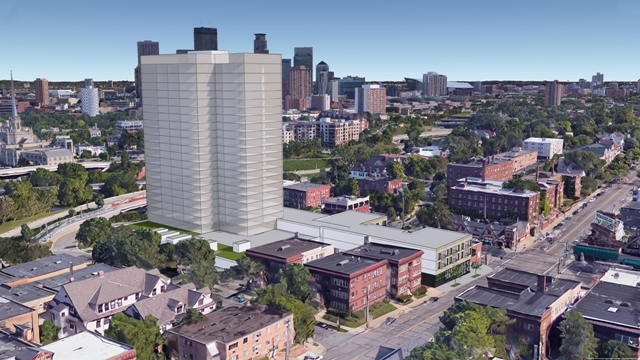 A predevelopment study by Cushman & Wakefield suggests that Vision Loss Resources' site for sale at 1936 Lyndale Ave. S. could hold a 24-story building with up to 20,000 square feet of retail space. Image courtesy of Cushman & Wakefield
