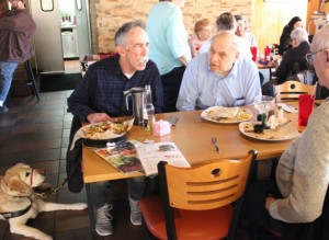 John Priestley (l) chats with Tom Heinl (center) and Bill Wolertz at Los Ocampo.