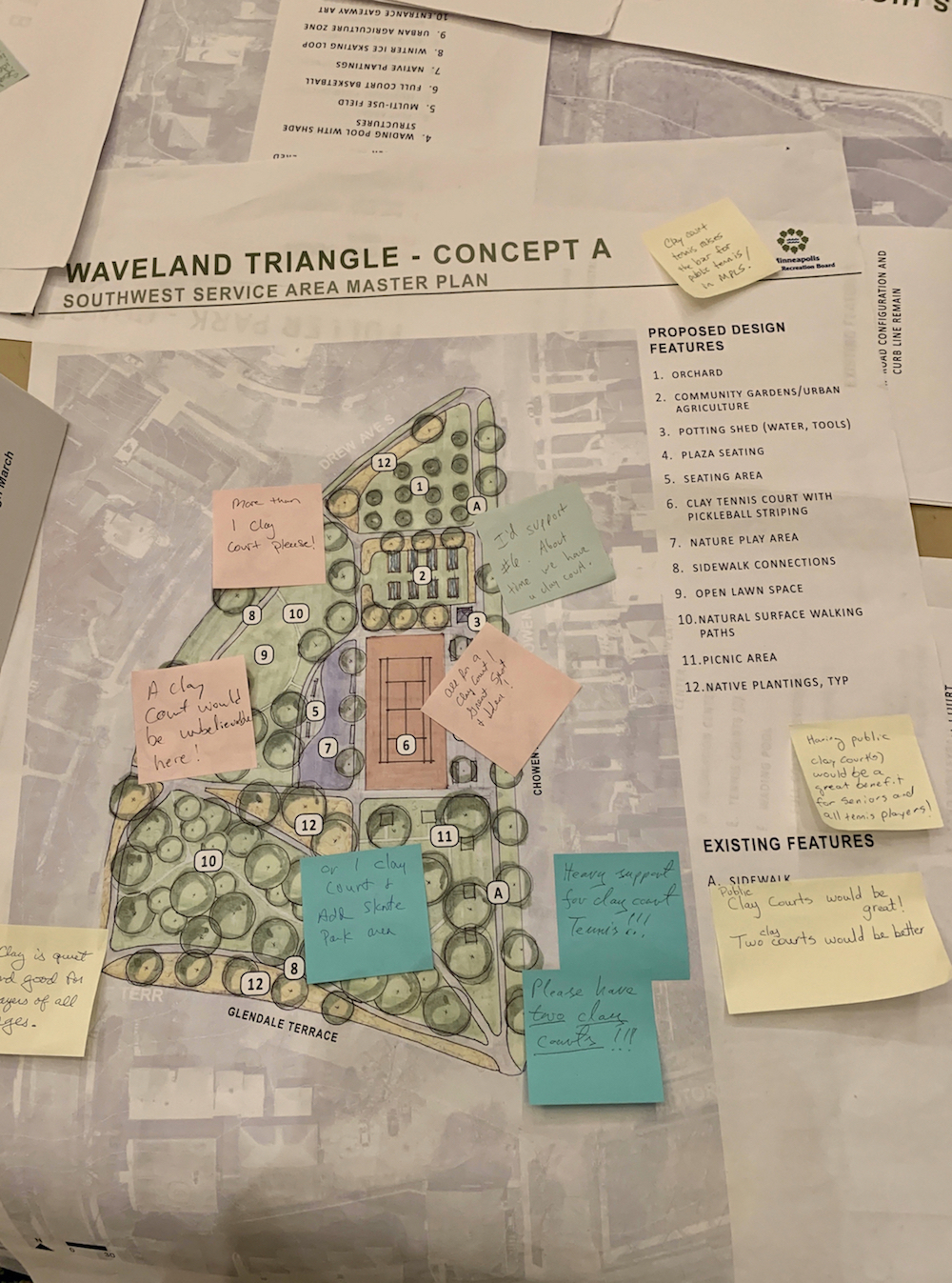 A concept plan for Waveland Triangle Park in Linden Hills includes a clay court. Many left supportive comments at a Park Board planning open house last month. Photo by Andrew Hazzard.