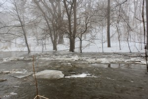 Ice chunks flow along in a rising Minnehaha Creek near 54th & Xerxes. Photo by Andrew Hazzard.