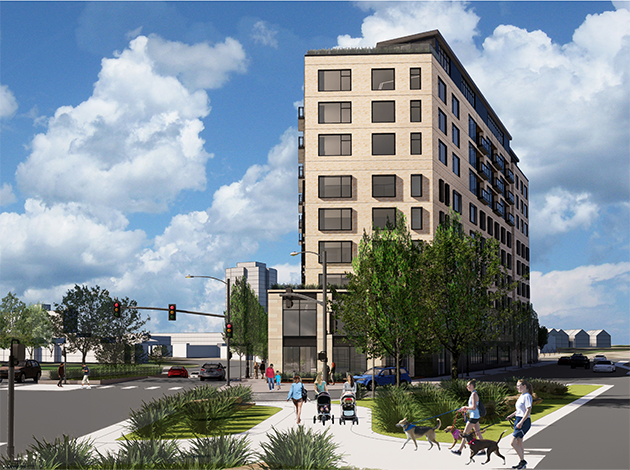 A revised plan for the hotel coming to Lake & Excelsior plan calls for a smaller building footprint and an additional ninth story. Submitted image: Elevage Development Group