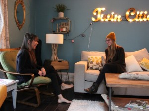 Lisa Richards chats with roommate Alyssa Gammelgaard at her home in the Lyndale neighborhood, which she rented out for the Final Four.