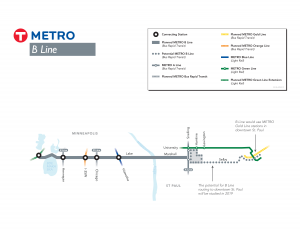 A graphic of the planned B Line bus rapid transit route along Lake Street in Minneapolis.