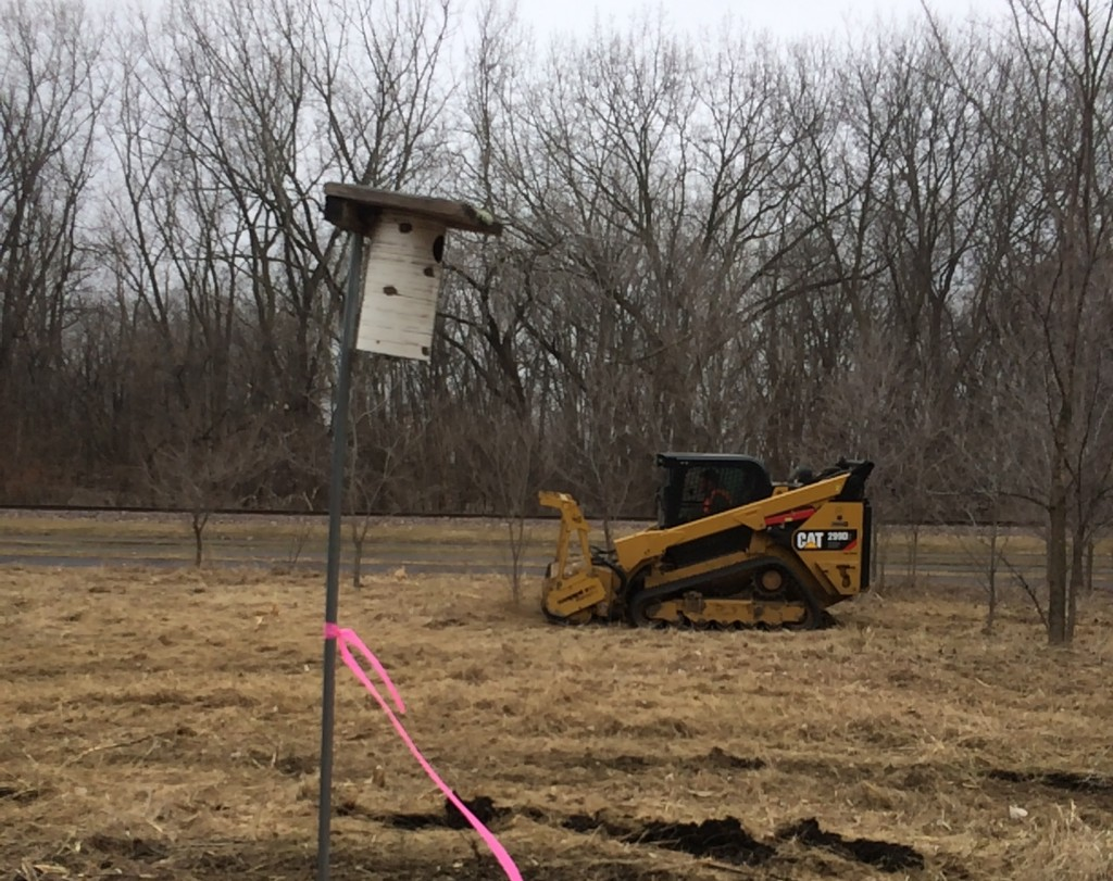 Workers cut brush along the Kenilworth Corridor near Thomas Avenue. Some residents along the corridor have raised objections that construction work is threatening the habitat of the Rusty Patched bumblebee. Submitted image