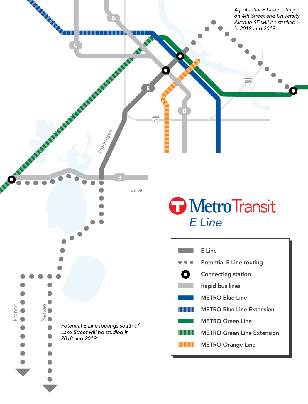 A graphic showing possible route options for the E Line outside of the Hennepin Avenue connection from Uptown to Downtown.