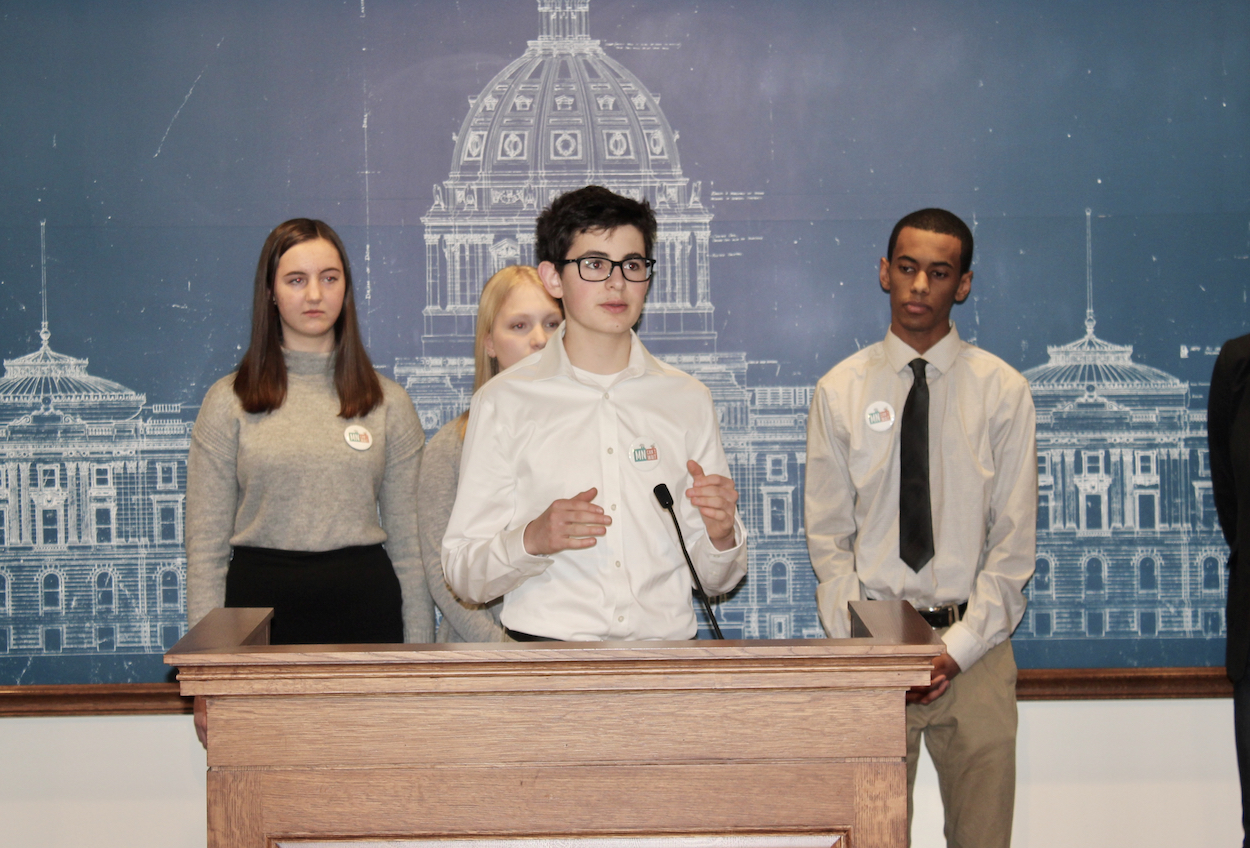 Gabriel Kaplan, a 16-year-old Southwest resident who helped author the Green New Deal with youth climate-action group MN Can't Wait, speaks at a press conference at the state capitol on April 10. Photo by Andrew Hazzard.