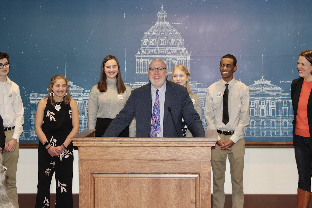 Rep. Frank Hornstein (DFL-Minneapolis) spoke about working with the youth behind the Minnesota Green New Deal at a press conference announcing the bill's introduction on April 10. Photo by Andrew Hazzard.