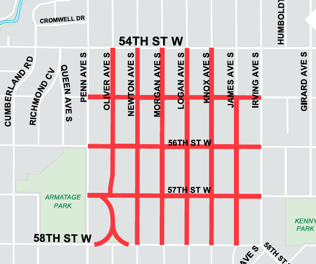 A map of the Kenny and Armatage streets