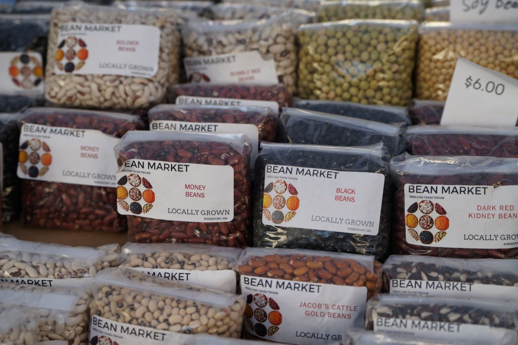 beans with labels at the bean market
