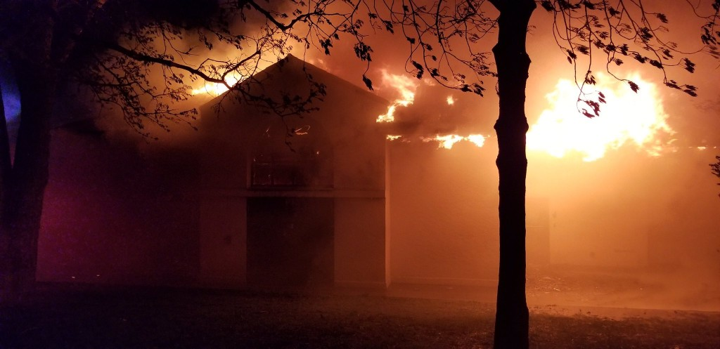 Flames engulfed the building shortly after 4 a.m. on May 16. Photo courtesy of Minneapolis Fire Department