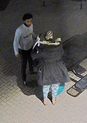 A surveillance camera image of the man and woman police are seeking as suspects in the pavilion fire at Bde Maka Ska. Submitted image