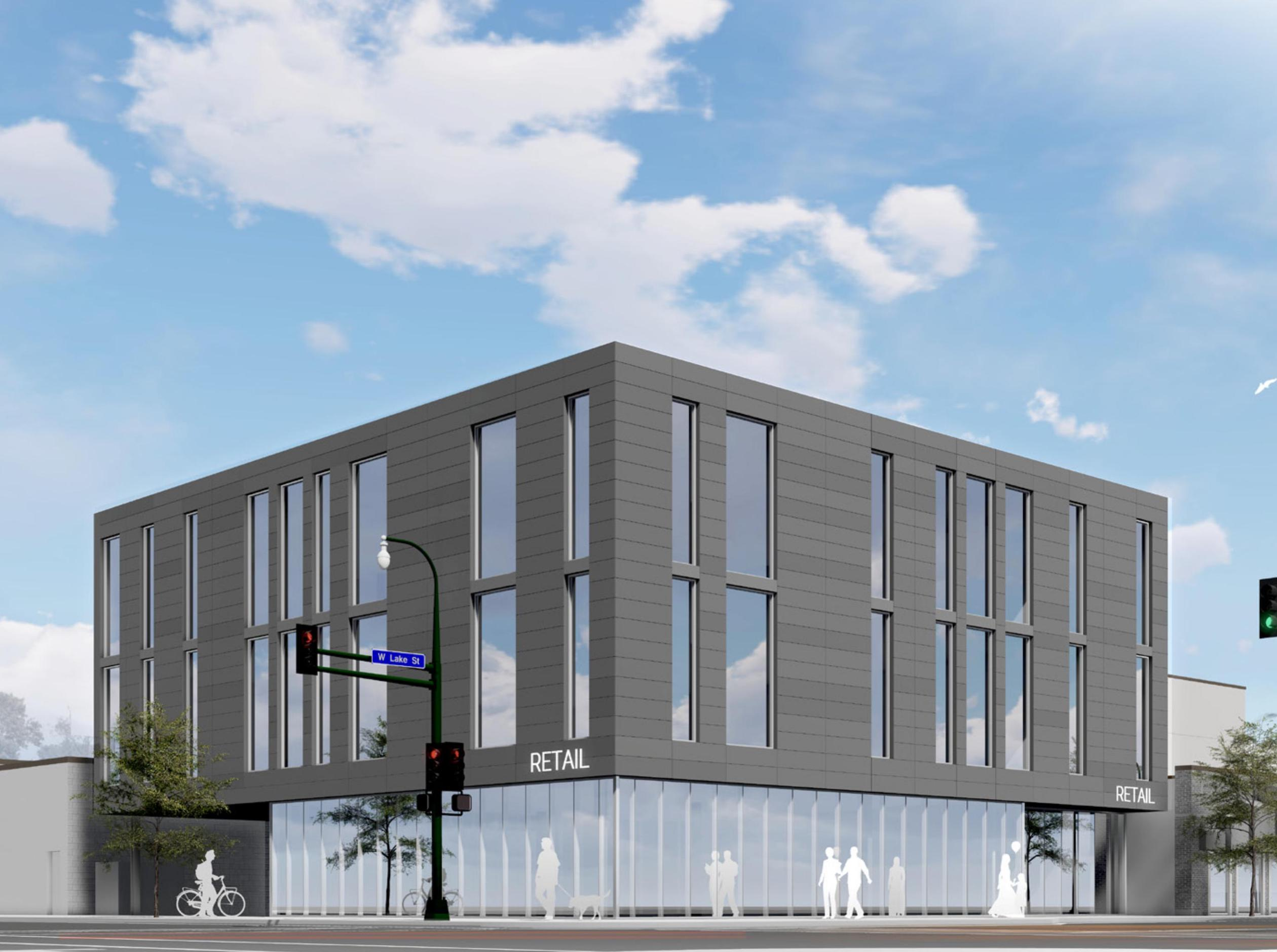Ibrahim Demmaj plans to use the first floor of a new three-story building at Lake & Grand as a showroom for his furniture store. Rendering by UrbanWorks via City of Minneapolis