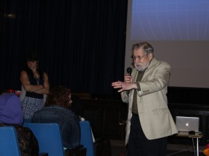 Holocaust survivor and Minneapolis resident Fred Amram speaks to Jefferson Community School students on May 15.