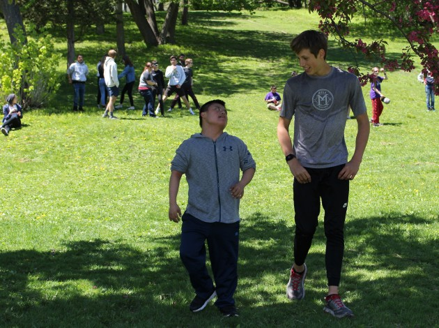 Southwest High School students Jose Mendez-Cahallero (left) and Owen Linseth were among the participants in a year-end celebration for the school's unified club May 20 at Beard's Plaisance in Linden Hills.