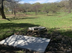 "A slab of concrete, slats and bricks awaiting bench construction are currently all that's left of the ""guru lounge"" in the Lyndale Park Rose Garden at Lake Harriet. Photo by Jim Walsh"
