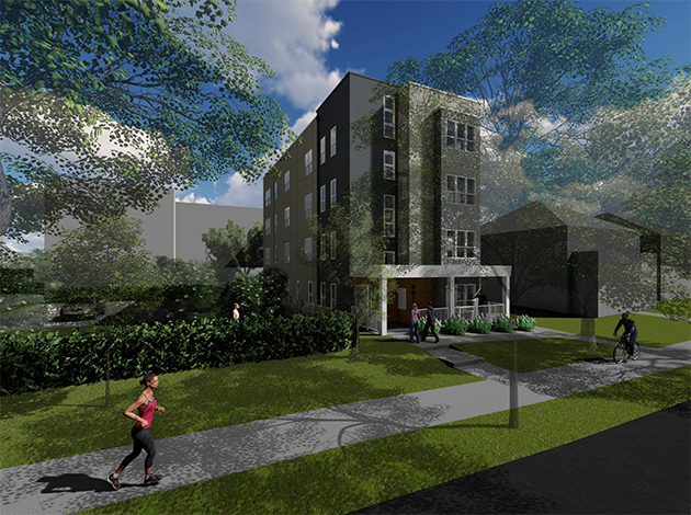 A four-story, 10-unit building is planned for 2812 Fremont Ave. S.  Submitted rendering