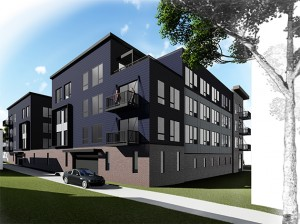 A four-story building planned for 3220 Girard Ave. S. would have 76 units and require three single-family homes and a duplex to be demolished. Submitted image