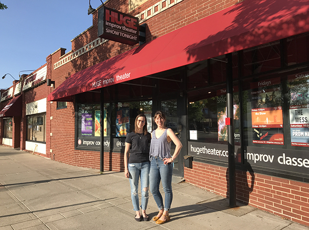 Emily Lindholm and Pam Mazzone outside the HUGE Theater. Photo by Zac Farber