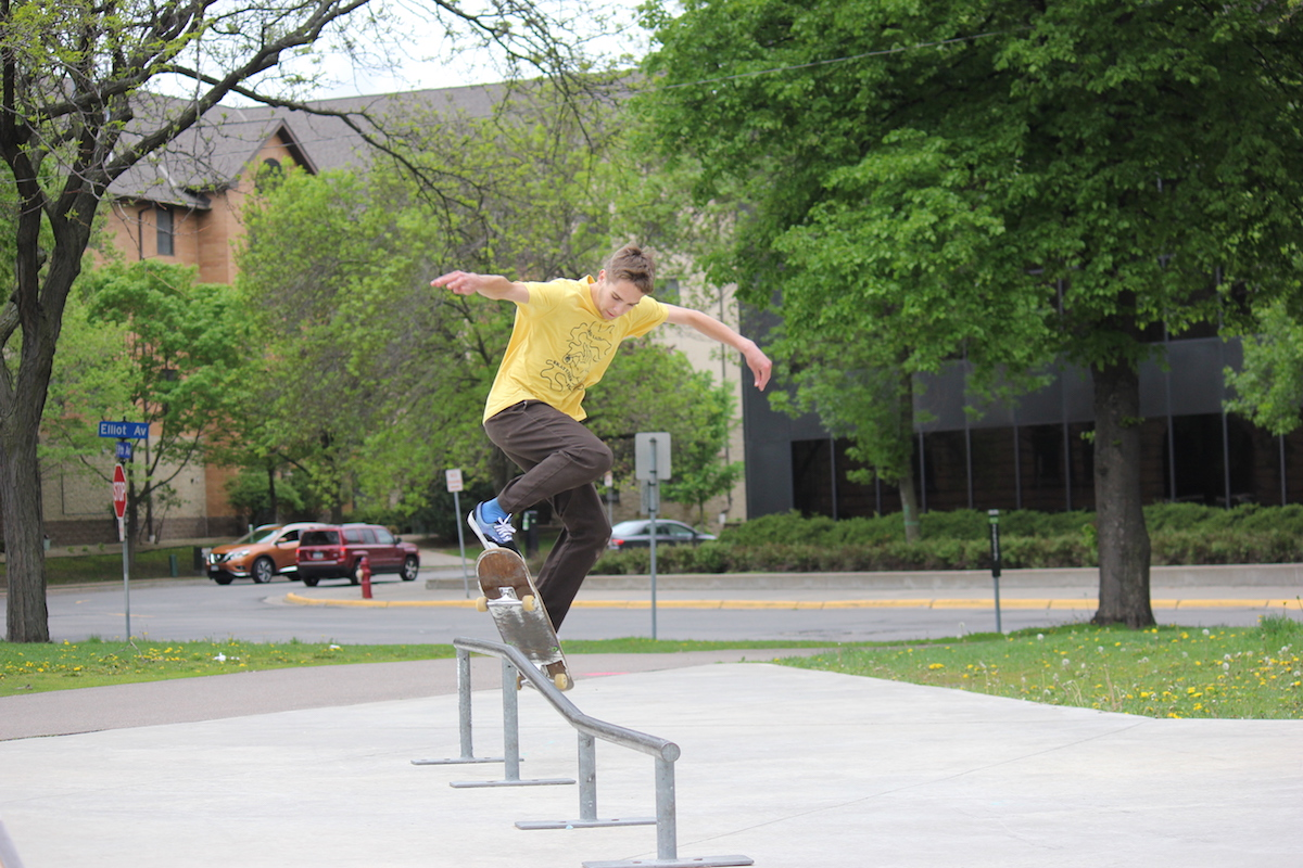 Ben Vaske jumps onto a rail at Elliot Park, the city's public skate park Downtown. The park will be upgraded this fall, according to the MPRB.