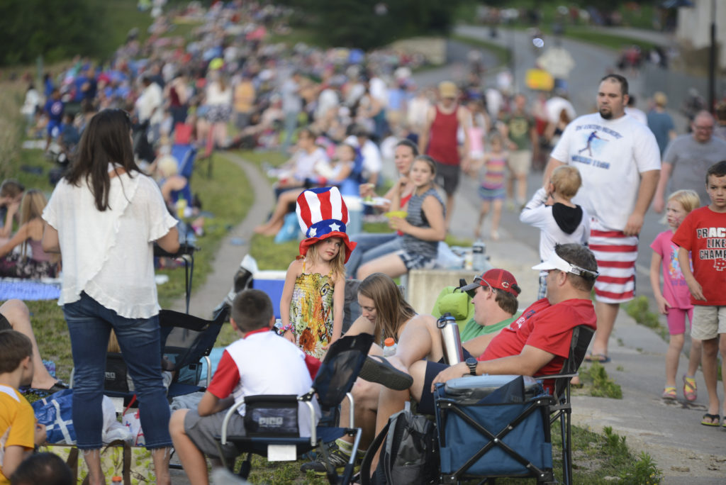 Park users enjoying Red White and Boom festivities