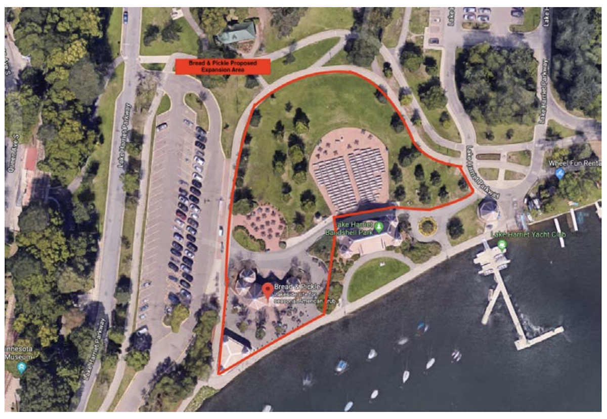 The proposed area for beer and wine from Bread and Pickle around the Lake Harriet Bandshell. Submitted image