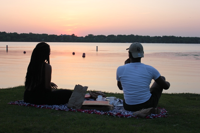 Lindsey Morris and Joseph Anderson picnic at Lake Harriet.