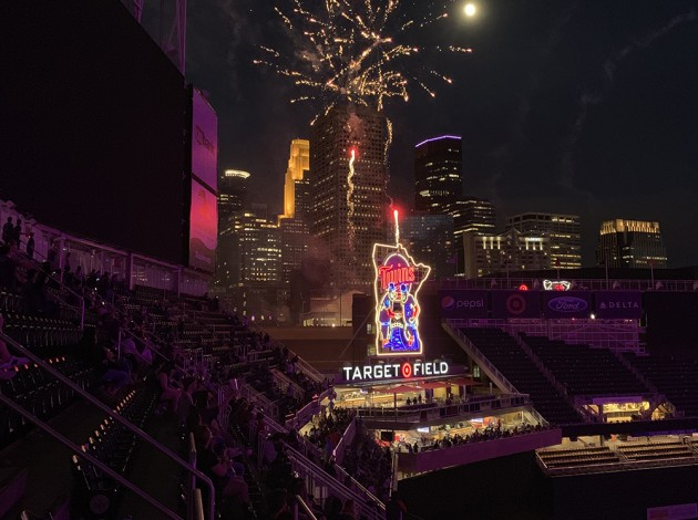 "Post-game fireworks set to Prince's ""Gold"" over Minneapolis. Target Field, June 14. Photo by Jim Walsh"