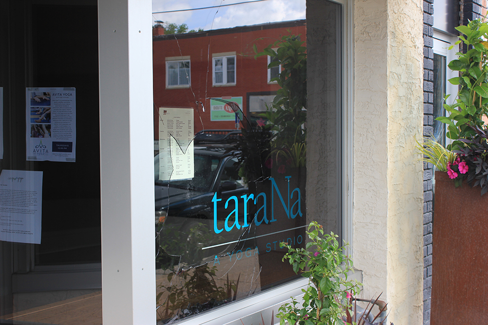 The ongoing vandalism at the forthcoming Good Times pizza and ice cream shop has continued and has now spread to its neighbor store, the TaraNa yoga studio. Photo by Andrew Hazzard