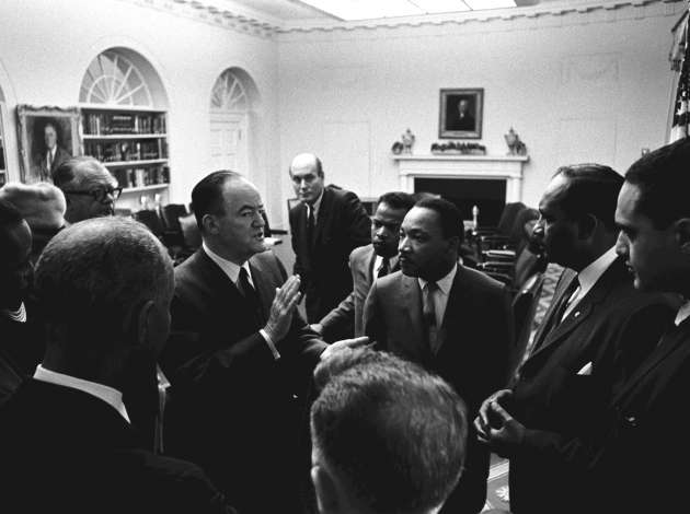 Hubert Humphrey with Martin Luther King Jr., among others.  Credit: Photo by Yoichi Okamoto courtesy the LBJ Library.
