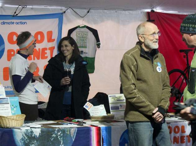 (Far left) Cool Planet co-directors Mindy Ahler and (right) Paul Thompson at the recent City of Lakes Loppet festival.  Credit: Photo by Sarah McKenzie
