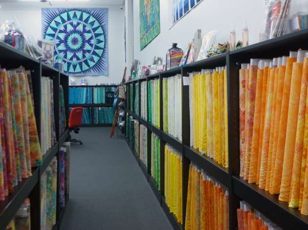 The color spectrum circles the warehouse at Blue Bamboo. Credit: Photo by Linda Koutsky