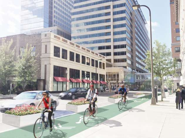 An illustration of a protected bike lane at 10th & Nicollet.  Credit: