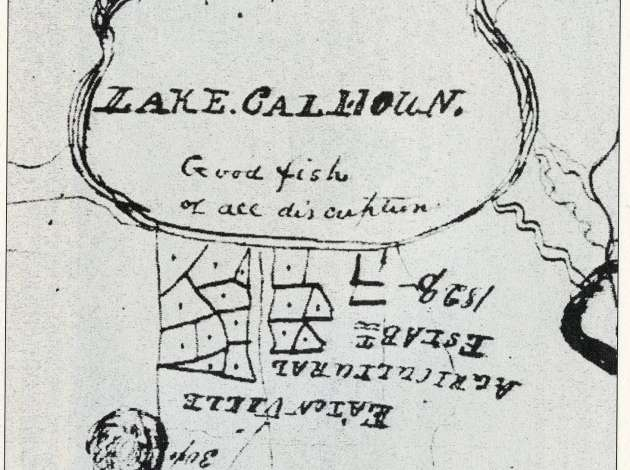 "This excerpt from a 1835 map is from the collections of the Minnesota Historical Society. The map was drawn by Indian agent Lawrence Taliaferro and describes Lake Calhoun as having ""good fish of all description."" Credit:"