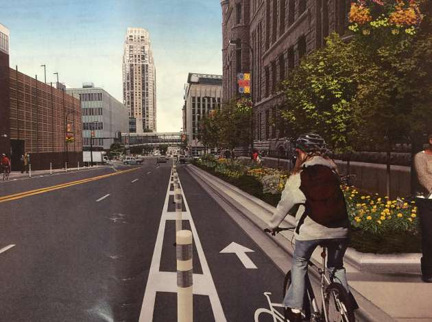 An illustration of the planter-protected bikeway on 3rd Avenue.  Credit: Image courtesy of the Minneapolis Bicycle Coalition