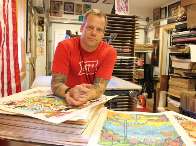 Artist Adam Turman works out of a garage at his St. Louis Park home.  Credit: Photo by Eric Best