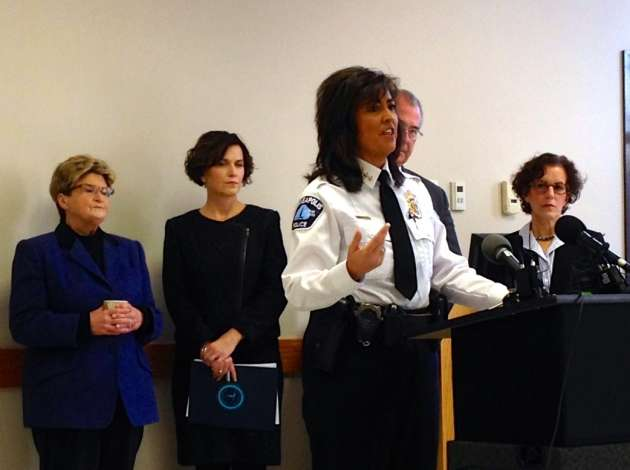 (From left) City Council President Barb Johnson, Mayor Betsy Hodges, Police Chief Janeé Harteau, Hennepin County Attorney Mike Freeman and City Attorney Susan Segal at a press conference Friday morning.  Credit: Photo by Sarah McKenzie