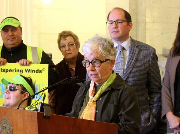 State Rep. Phyllis Kahn at a press conference on rail safety at City Hall.  Credit: Photo by Sarah McKenzie