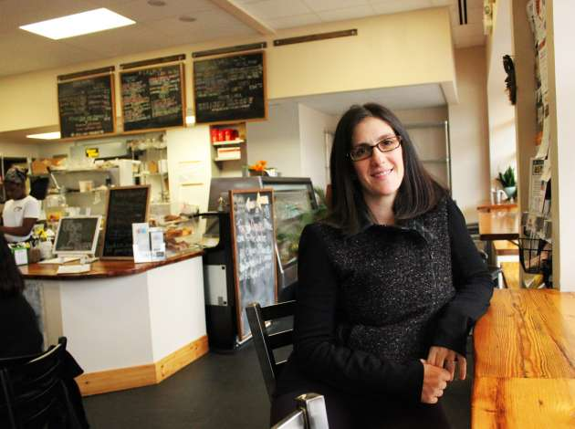 Credit: Appetite For Change co-founder Michelle Horovitz at Breaking Bread Café, a restaurant the nonprofit started on West Broadway. Photo by Michelle Bruch