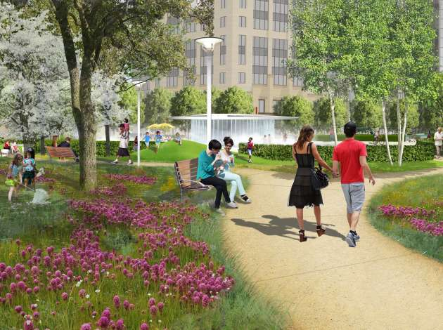 An illustration of the Commons park, which will open this summer. Not all planned features, however, will be ready when the park opens. Credit: Image courtesy of Hargreaves Associates